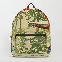 Vintage Japanese Woodblock Print Red Snow Pagoda Garden Backpack