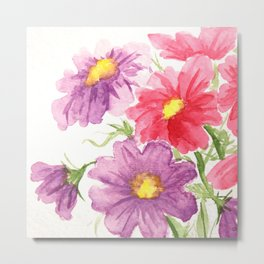 Pink and Purple Cosmos Metal Print
