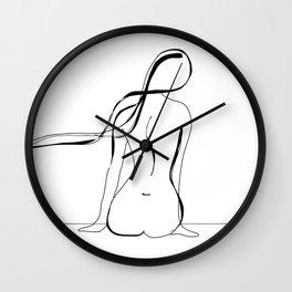 Woman Line Drawing Wall Clock