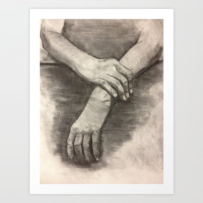 Charcoal Hands Human Anatomy Art Print By Aestheticsaloni Society6