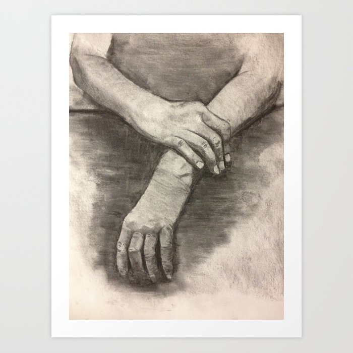 Charcoal Hands Human Anatomy Art Print By Aestheticsaloni Society6