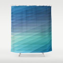 Fig. 042 Blue Geometric Diagonal Stripes Shower Curtain