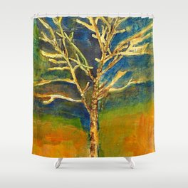 Golden Birch Shower Curtain