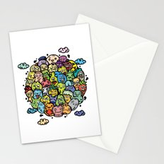 Adorable doodle characters squeezing together in a circle Stationery Cards