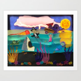 Little Pirate Shipwrecked in Mermaid Land Paper Art Art Print