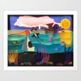 Little Pirate Shipwrecked in Mermaid Land Paper Art Art Print