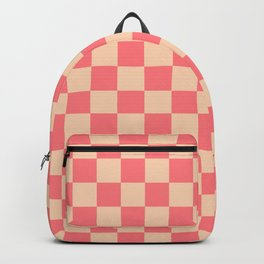 Coral and Peach Check Backpack
