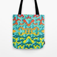 miles davis Tote Bags featuring Miles and Miles of Squares by Mister Phil