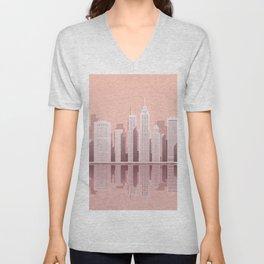 Pink City Manhattan Unisex V-Neck
