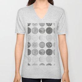 Abstract modern black geometric hand drawn pattern Unisex V-Neck