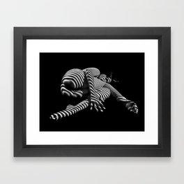 7841-KMA BW Striped Fine Art Nude Woman Emerging From Fetal Position Framed Art Print