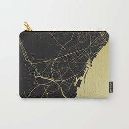Barcelona Black and Gold Map Carry-All Pouch