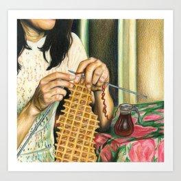 Knitting Waffles Art Print