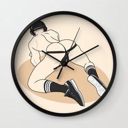 Boy in jocks. Line art  Wall Clock
