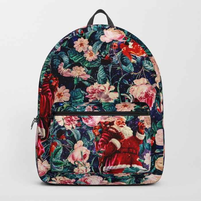 Santa Claus and Floral Pattern Backpack