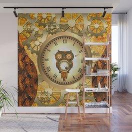 Steampunk, cute owl Wall Mural