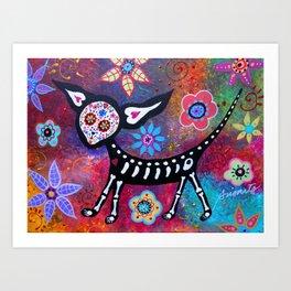 Mexican Dia de los Muertos Chihuahua Painting Art Print