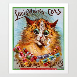 "Louis Wain's Cats ""Tom Smith's Crackers"" Art Print"