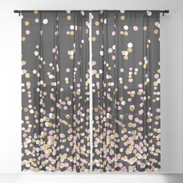 Floating Dots - White, Gold and Pink on Black Sheer Curtain