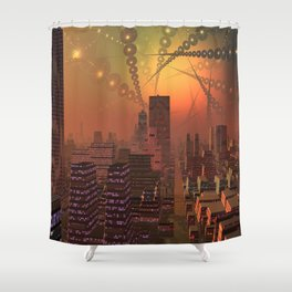 Spherople Alien City Shower Curtain