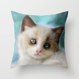 The Blue Kitten Throw Pillow