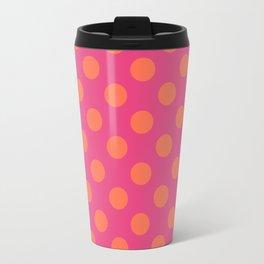 fuchia with orange polka dots Travel Mug