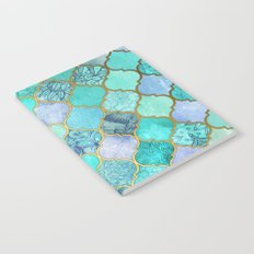 Cool Jade & Icy Mint Decorative Moroccan Tile Pattern Notebook