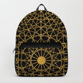 Geometric Circle Black and Gold Backpack