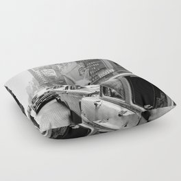 Llama Riding in Taxi, Black and White Vintage Print Floor Pillow