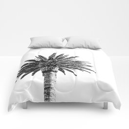 Lush Palm {2 of 2} / Black and White Sky Tree Leaves Art Print Comforters