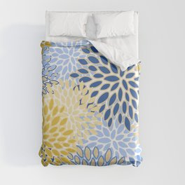 Modern, Floral Prints, Summer, Yellow and Blue Duvet Cover