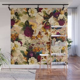 Vintage & Shabby Chic -  Nostalgic Winter Florals Pattern Wall Mural