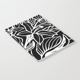 Black White Floral Minimalist Notebook