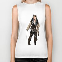 jack sparrow Biker Tanks featuring Jack Sparrow Inspired Pirates of the Caribbean Typographic Poster by A Deniz Akerman