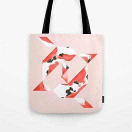 Tangram Koi - Pink background Tote Bag