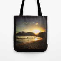 rio de janeiro Tote Bags featuring Rio de Janeiro - Brasil  by Claudia Araujo
