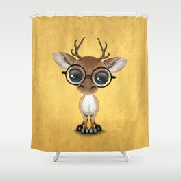 Cute Curious Nerdy Baby Deer Wearing Glasses on Yellow Shower Curtain