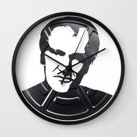 quentin tarantino Wall Clocks featuring Quentin Tarantino by Alejandro de Antonio Fernández