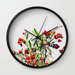 Minimal Red & Green Floral (Color) Wall Clock