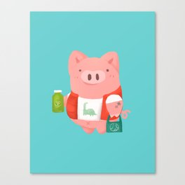 healthy life pig Canvas Print