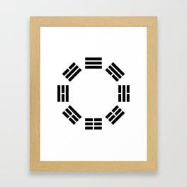 Black Hexagon I ching Feng Philosophy Framed Art Print