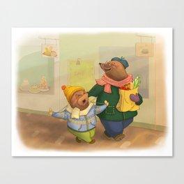 Grandpa mole and little mole Canvas Print