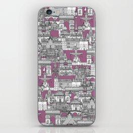 Paris toile raspberry iPhone Skin