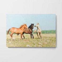 Three horses watercolor painting #3 Metal Print