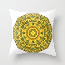 Sunflowers, Floral mandala-style, Flower Mandala Throw Pillow