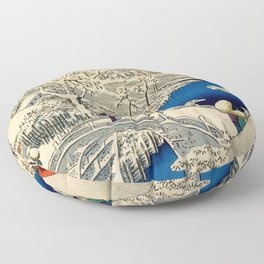 Ukiyo-e, Ando Hiroshige, Yuhi Hill and the Drum Bridge at Meguro Floor Pillow