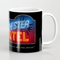 winchester Mugs featuring Winchester Hotel by quickreaver