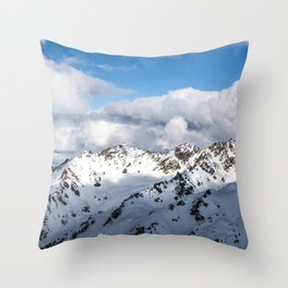 Majestic Mountains covered in snow Throw Pillow