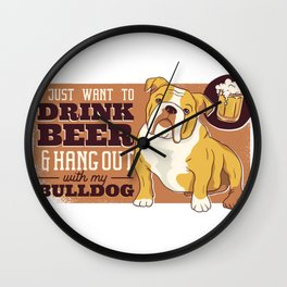 Beer And Bulldog Wall Clock