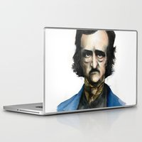 edgar allan poe Laptop & iPad Skins featuring Edgar Allan Poe by Jaume